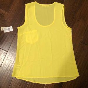 NWT. Neon yellow sleeveless silk tank.